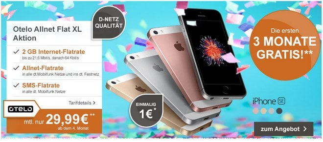 iphone se otelo allnet flat xl 2gb 3 monate gratis. Black Bedroom Furniture Sets. Home Design Ideas